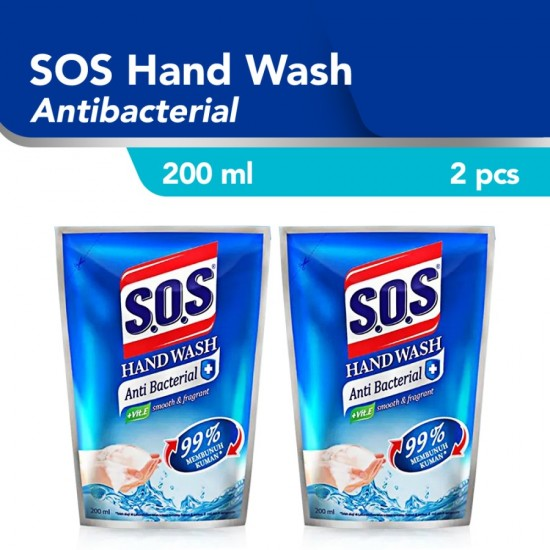 SOS Hand Soap Anti Bacterial Refill Sabun Cuci Tangan [200 mL] / 2pcs