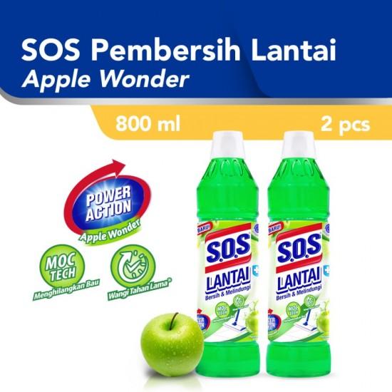 SOS Pembersih Lantai Apple Wonder Hijau Botol [800 ML] - 2pcs