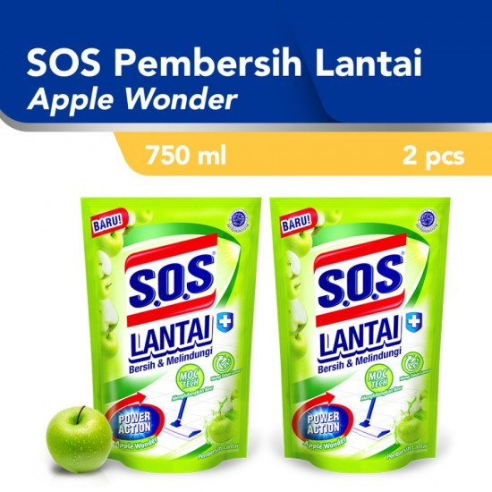 SOS Pembersih Lantai Apple Wonder Refill 750ml - 2pcs