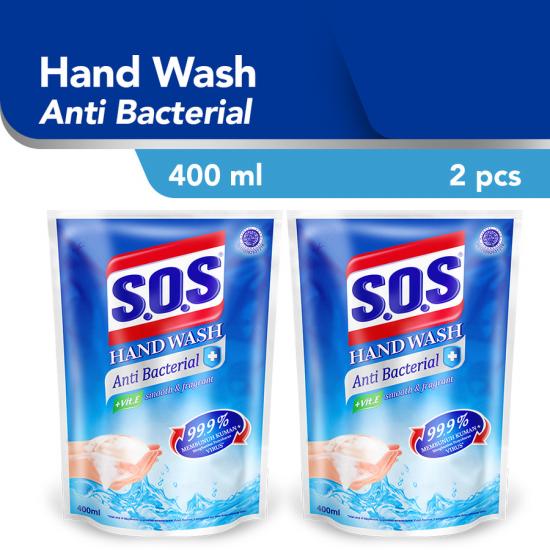 SOS Hand Soap Anti Bacterial Refill 400 ml / 2pcs