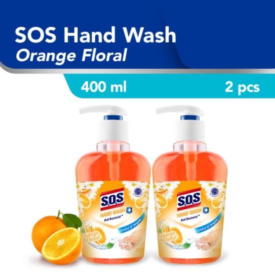 SOS Hand Soap Orange Floral Pink [400 ML] Botol / 2pcs