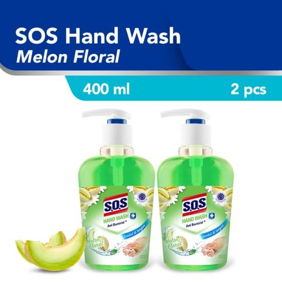 SOS Hand Soap Sabun Cuci Tangan Melon Floral HiJau 400 ML Botol / 2pcs