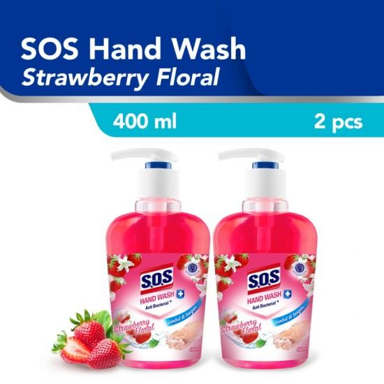 SOS Hand Soap Strawberry Floral Pink [400 ML] Botol / 2pcs
