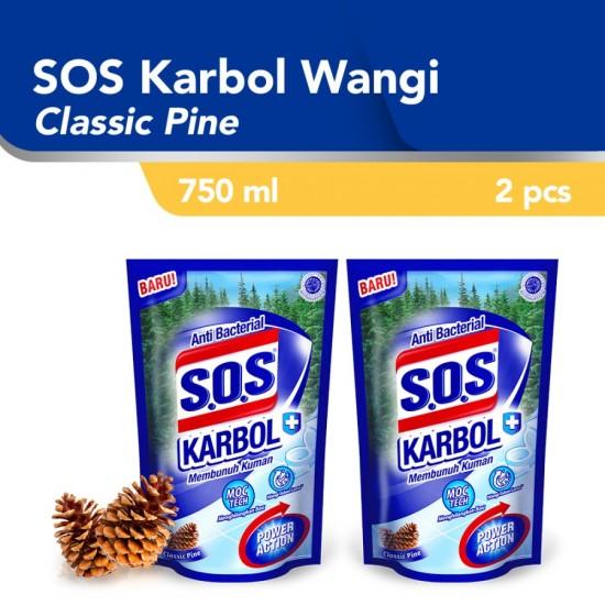 SOS Cairan Pembersih Karbol Classic Pine Refill [750 mL] / 2pcs