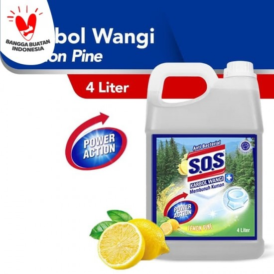 SOS Karbol Wangi Lemon Pine 4L