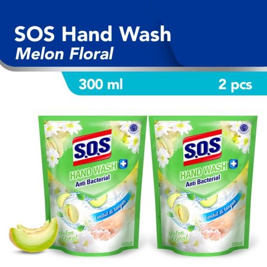 SOS Hand Soap Sabun Cuci Tangan Melon Hijau Refill 300 ML - 2pcs