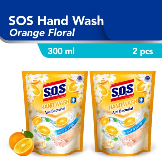 SOS Hand Soap Sabun Cuci Tangan Orange Refill 300 ml / 2pcs