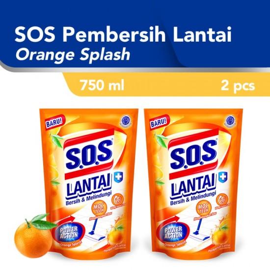 SOS Pembersih Lantai Orange Splash Refill 750ml - 2pcs