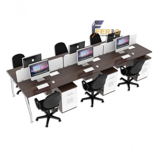 FERRO MEJA WORKSTATION WS 03 Uk. 3600 x 1200 x 750/1100 mm Lapis HPL