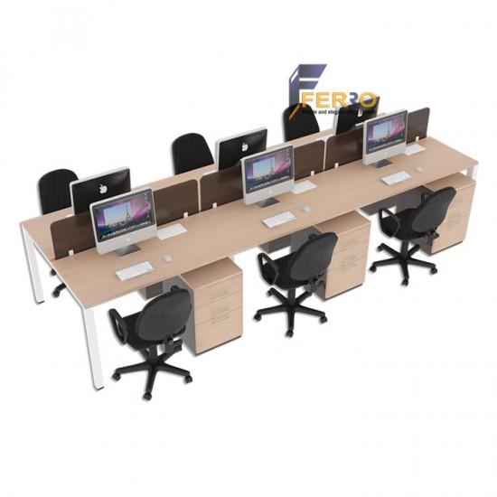 FERRO MEJA WORKSTATION WS 04 Uk. 2400 x 1200 x 750/1100 mm Lapis HPL